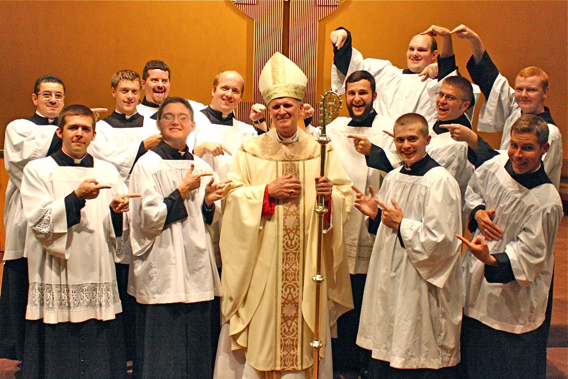 Bishop departs beloved southern missouri for kc dioscg hes the mandiocesan seminarians hammed it up with bp james v kristyandbryce Image collections