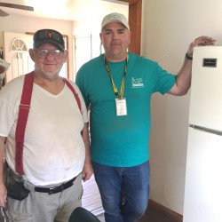 Drury Southwest partners with Catholic Charities to provide help FLOOD RESPONSE—Ed Powell, a veteran and a survivor of the recent floods, visited with Catholic Charities of Southern Missouri staff at the Multi-Agency Resource Center (MARC) held in Ellington, MO, on May 10. Among other damages, he reported the loss of his refrigerator in the flood. Ed, a diabetic, was concerned because his insulin medication must be kept at a certain temperature. Thanks to a donation of refrigerators by Drury Southwest of Cape Girardeau, Shea Lane, CCSOMO Director of Disaster Preparedness and Response, was able to deliver a replacement refrigerator to Ed's home the next day. Together, Catholic Charities is helping our neighbors in need every day!