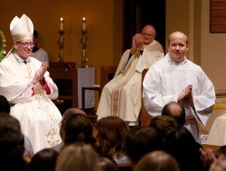 ELECTION BY THE BISHOP—After Brian Straus was presented for ordination as a deacon on May 19 by Fr. J. Friedel, he was accepted by Bp. Edward M. Rice and all present in St. Agnes Cathedral, Springfield, including Bishop Emeritus John J. Leibrecht (background). (Photo by Dean Curtis/The Mirror)