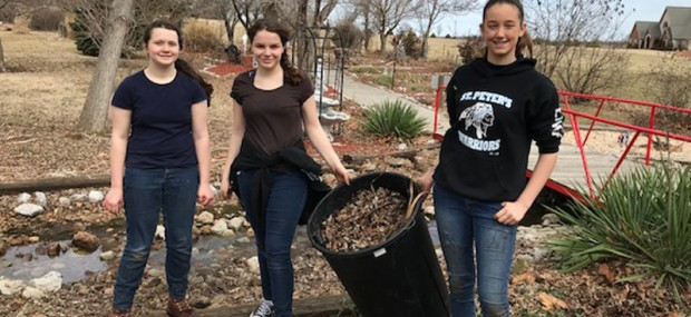 LEAF REMOVAL—Students in St. Peter the Apostle Middle School, Joplin, recently spent a day in service the first weekend of March in the Prayer Garden at Sacred Heart Catholic Church in Webb City. A photo gallery of this event may be found HERE. (The Mirror)